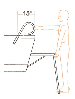 15 inch Boarding Assist Handle Drawing